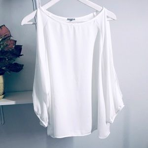 Charlotte Russe White Cold Sleeve Blouse  Large